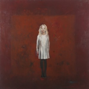 La petite fille sur fond rouge 100x100